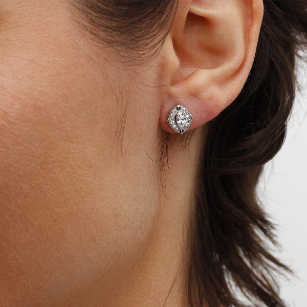 Cercei argint mici Zirconii TRSE080, Bijuterii - Corelle