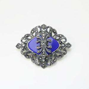 Brosa argint cu piatra albastra si marcasite - ICA0001