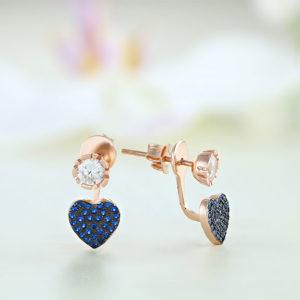 Cercei argint roz cu pietre albastre - ICE0029