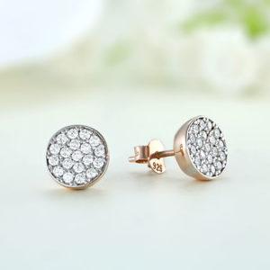 Cercei argint roz mici rotunzi cu pietre - ICE0032