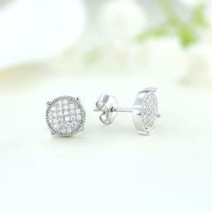 Cercei argint mici rotunzi cu pietre - ICE0033