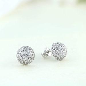 Cercei argint mici rotunzi cu pietre - ICE0056