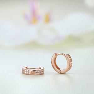 Cercei argint roz mici rotunzi cu pietre - ICE0063