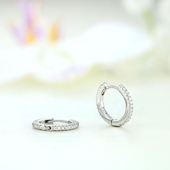 Cercei argint mici rotunzi cu pietre - ICE0074
