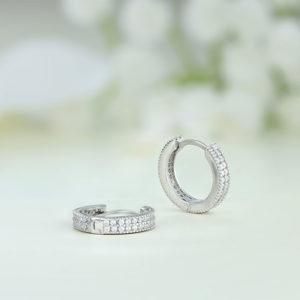 Cercei argint mici rotunzi cu pietre - ICE0075