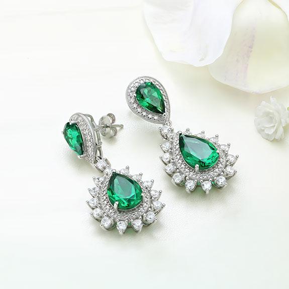 Cercei argint cu piatra Verde - ICE0078