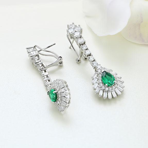 Cercei argint cu piatra Verde - ICE0079