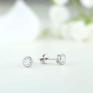 Cercei argint mici rotunzi cu piatra 5mm - ICE0088