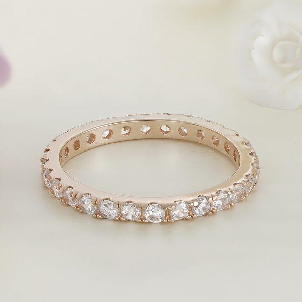 Inel argint Subtire Eternity roz cu pietre - ICR0006