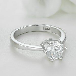 Inel logodna argint cu piatra zirconiu Solitar - ICR0024
