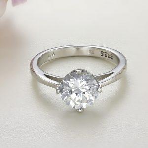 Inel logodna argint cu piatra zirconiu Solitar - ICR0025