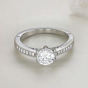 Inel logodna argint cu pietre Solitar cu pietre laterale - ICR0029