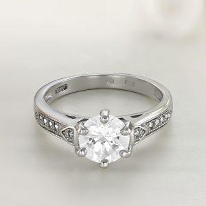 Inel logodna argint cu pietre Solitar cu pietre laterale - ICR0032