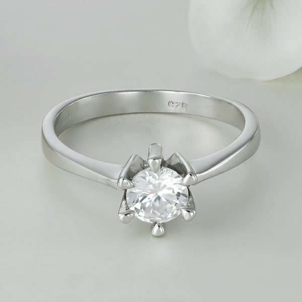 Inel logodna argint cu piatra zirconiu Solitar - ICR0033