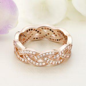 Inel argint Lat Eternity roz cu pietre - ICR0057