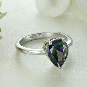 Inel argint cu piatra Multicolor Lacrima Zirconiu Solitar - ICR0078