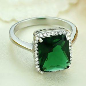 Inel argint cu pietre Anturaj-Halo | Verde - ICR0084