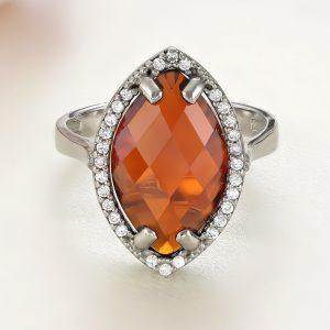 Inel argint cu pietre Anturaj-Halo | Rosu - ICR0092