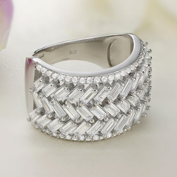Inel argint Lat cu pietre Semi Eternity - ICR0103