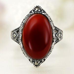 Inel argint Vintage Rosu Carneol cu marcasite - ICR0118