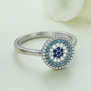 Inel argint Ochiul lui Dumnezeu - cu pietre - ICR0121