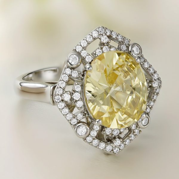 Inel argint cu pietre Anturaj-Halo Galben - ICR0137