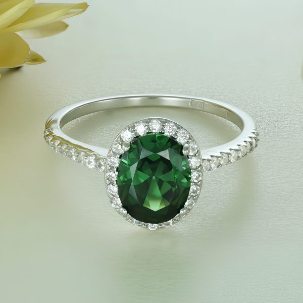 Inel argint cu pietre Anturaj-Halo Verde - ICR0144