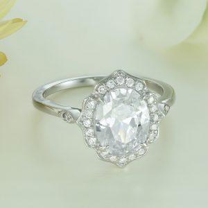 Inel logodna argint cu pietre Anturaj-Halo - ICR0145