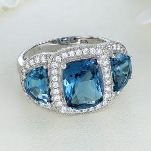 Inel argint cu pietre Anturaj-Halo Albastru - ICR0148