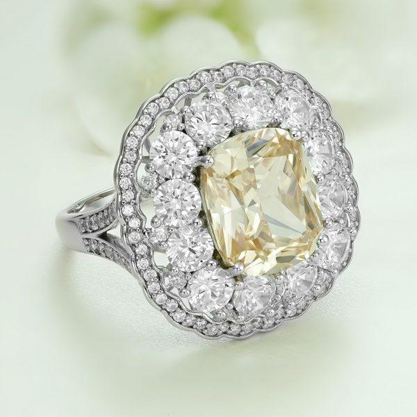 Inel argint cu pietre Anturaj-Halo Galben - ICR0149