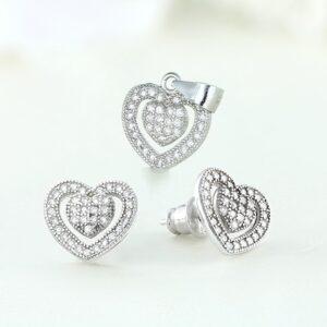 Set bijuterii argint cu pietre Heart - ICS0056