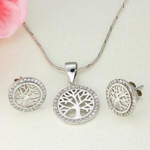 Set bijtuerii argint Copacul vietii cu pietre