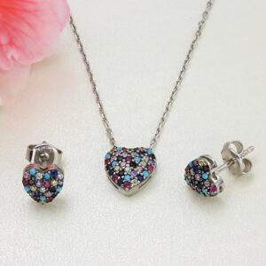 Set bijuterii argint inimi cu pietre colorate