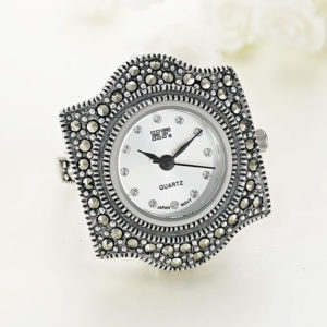Inel ceas din argint cu pietre marcasite icw0001