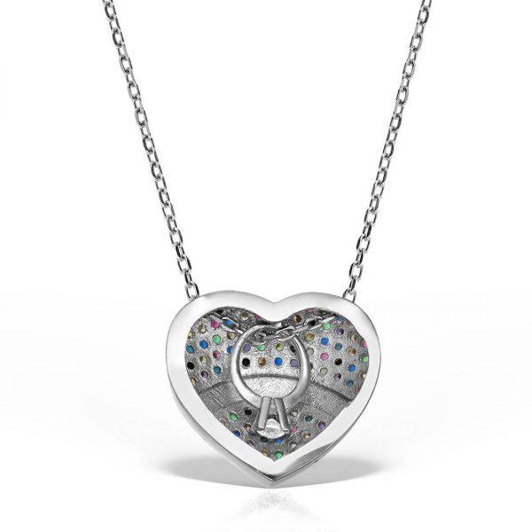 Colier argint cu pietre 42 cm colorate - Inima - MCN0022