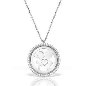Colier argint cu pietre 41 cm Indragostiti | Kiss - MCN0035