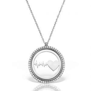 Colier argint cu pietre 42 cm Puls Inima - MCN0038