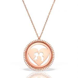 Colier argint Roz cu pietre 41 cm Indragostiti Heart & Kiss - MCN0039