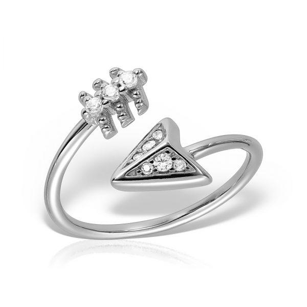 Inel argint reglabil cu pietre Sageata - MCR0034