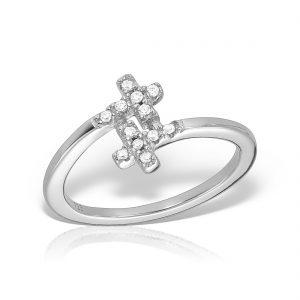 Inel argint Cruce cu pietre - MCR0039