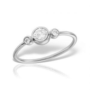 Inel argint subtire cu 3 pietre - MCR0105