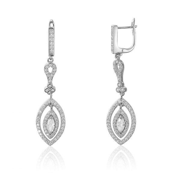 Cercei argint Latch Back Drop Earrings Zirconii TRSE013, Bijuterii - Corelle