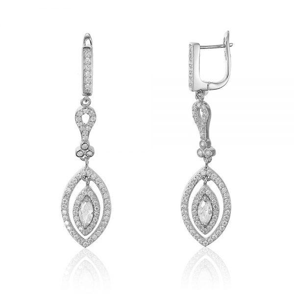 Cercei argint cu pietre atarnatori Latch Back Drop Earrings Zirconii TRSE013, Bijuterii - Corelle
