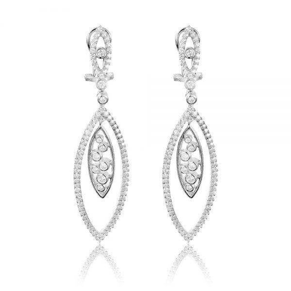 Cercei argint Surub Drop Earrings Zirconii TRSE061, Bijuterii - Corelle