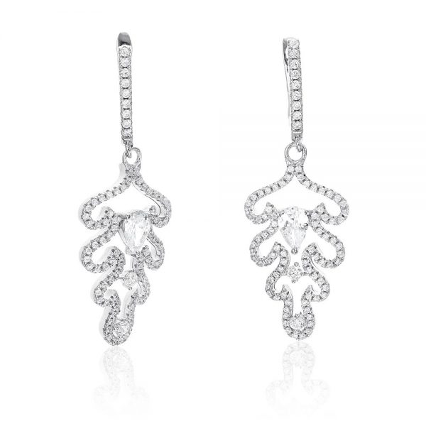 Cercei argint Latch Back Drop Earrings Zirconii TRSE062, Bijuterii - Corelle