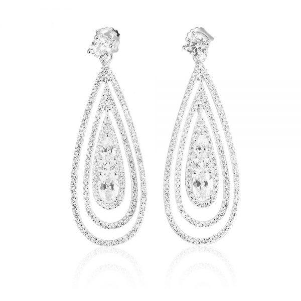 Cercei argint Surub Drop Earrings Zirconii TRSE065, Bijuterii - Corelle