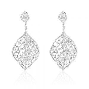 Cercei argint frunza Surub Drop Earrings Zirconii TRSE067, Bijuterii - Corelle