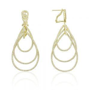 Cercei argint Omega Clip Drop Earrings Zirconii TRSE081, Bijuterii - Corelle