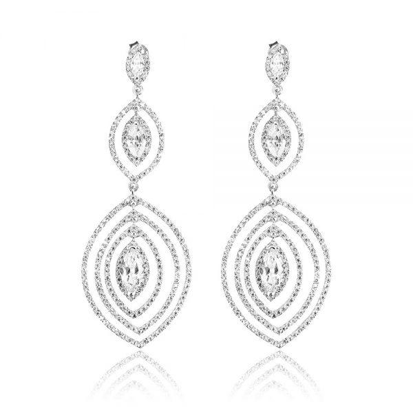 Cercei argint Surub Drop Earrings Zirconii TRSE082, Bijuterii - Corelle