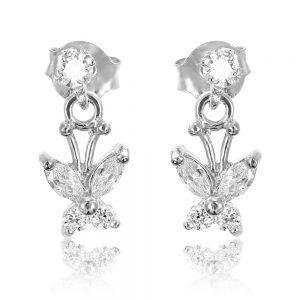 Cercei argint Surub Drop Earrings Zirconii TRSE086, Bijuterii - Corelle